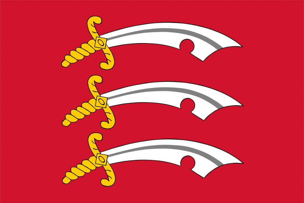 This image shows the flag of Essex which is three swords on a red background. Eastern Fostering Services offers fostering in all parts of Essex.