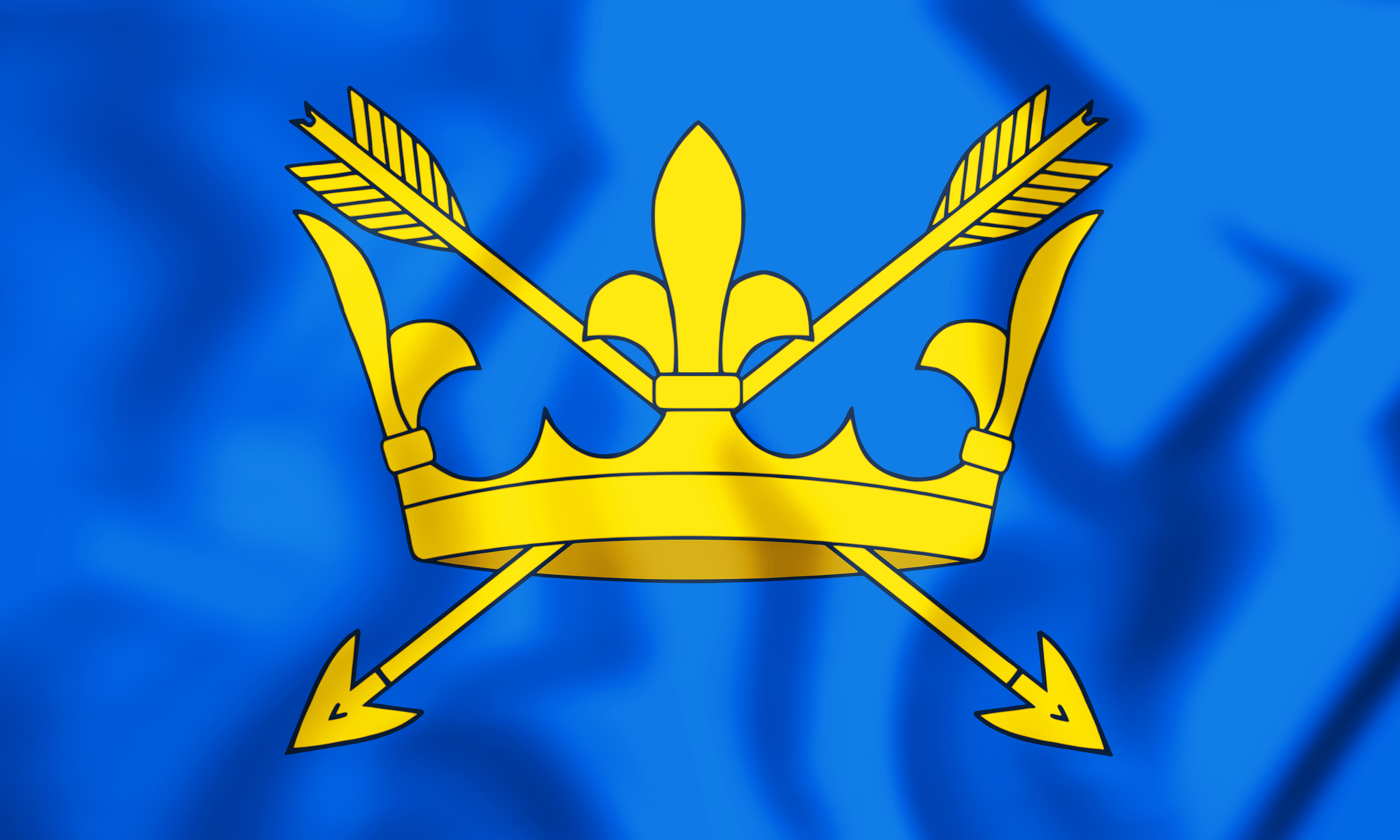 The flag of Suffolk is a gold crown with two golden arrows crossing it, on a royal blue background. Eastern Fostering Services hold regular fostering events in Suffolk.